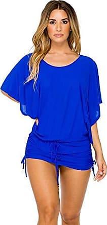Luli Fama Womens Cosita Buena South Beach Cover-Up Dress, Electric Blue, Large