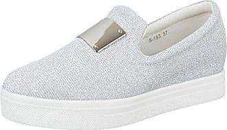 877aaba3bd8ec6 Ital-Design Low-Top Sneaker Damen-Schuhe Low-Top Slipper Freizeitschuhe  Silber