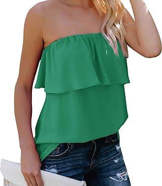 YYW Women Summer Casual Sexy Tops Tube Top Chiffon Sleeveless Flowy Blouse Strapless Ruffle Swing Shirt (Green,XL)