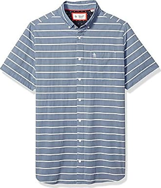 89f0a6f6 Original Penguin Mens Big Short Sleeve Stripe Button Down Shirt, Dark Denim  Boucle, 1