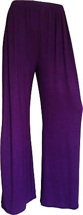 Momo & Ayat Fashions Ladies Jersey Lighhtweight Palazzo Wide Leg Trousers Pants UK Size 8-26 (Purple, L/XL (UK 16-18))