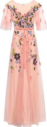 Marchesa Marchesa Notte Woman Velvet-trimmed Embellished Tulle Gown Blush Size 6