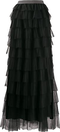 Fabiana Filippi long ruffled skirt - Black