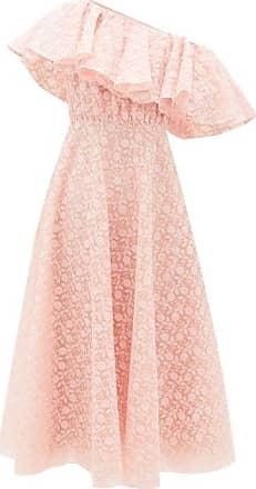 Giambattista Valli Sunflower-lace Ruffled One-shoulder Dress - Womens - Light Pink