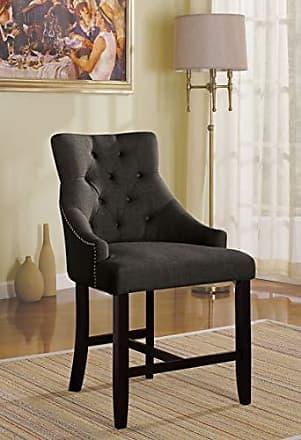 ACME AC-59197 Dining Chair, Gray Fabric & Walnut