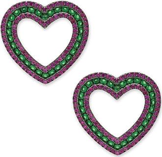 Renata Rancan Brinco Coração Cravejado com Zircônias - Rosa Pink, Verde - Ródio Negro