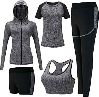 Inlefen Womens Tracksuits Sets Sportsuit Set Soft Quick-Drying Running Jogging Gym Workout Sweatsuit 5 Piece Set Sports Bra,T-Shirt,Coat and 2 pcs Pants Ladie