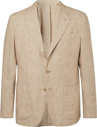 Caruso Stone Butterfly Unstructured Washed-linen Suit Jacket - Stone