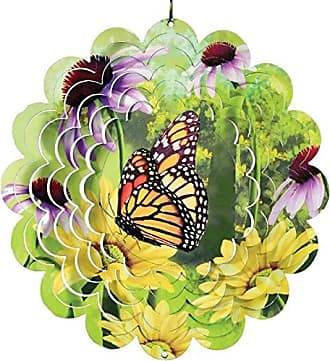 Great World Company StealStreet 610004 12 Monarch Butterfly with Flowers Metal Painted Wind Spinner