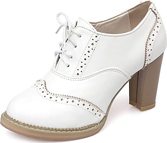 Vimisaoi Womens Platform Chunky High Heeled Wingtip Oxfords, Round Toe Lace-up Ankle Booties Dress Pumps