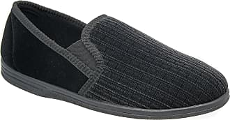 Zedzzz Mens Black Striped Velour Comfortable Slip On Slippers Sizes 6 to 14 (14)