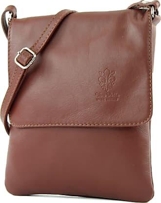 modamoda.de ital leather shoulder bag Messenger bag ladies small T 34, Colour:brown