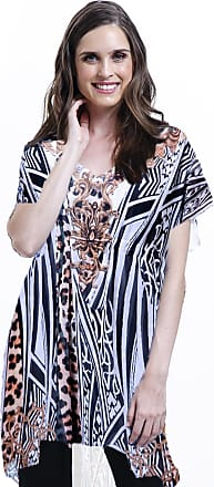 21c6c2386 101 Resort Wear Blusa 101 Resort Wear Tunica Decote V Crepe Fendas  Estampada Onça Listrado