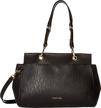 Calvin Klein Womens Sonoma Satchel, Black/Gold, One Size