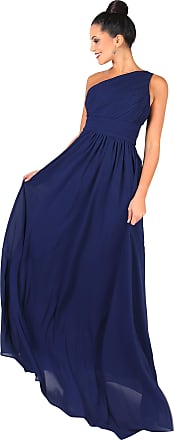 Krisp 4814-NVY-14: One Shoulder Maxi Prom Dress, 14, Navy [4814]