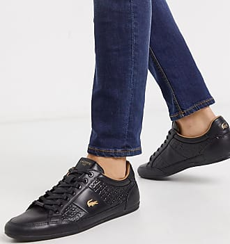 Lacoste chaymon trainers in black with gold croc