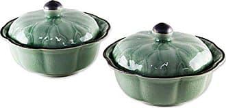 Novica Decorative Lotus Leaves (Pair) Celadon Ceramic Bowls with lids