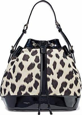 ec5ad34cd617 Emporio Armani Emporio Armani Woman Patent Leather-trimmed Leopard-print  Twill Bucket Bag Black. -50%