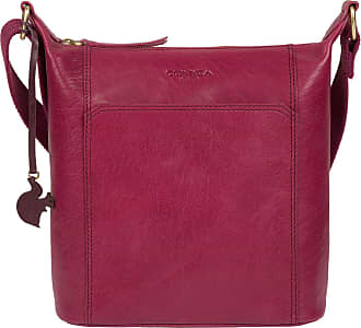 Pure Luxuries London Concka London Yasmin Womens 25cm Biodegradable Leather Cross Body Bag with Zip Over Top, 100% Cotton Lining and Adjustable Leather Strap in Orchid B24