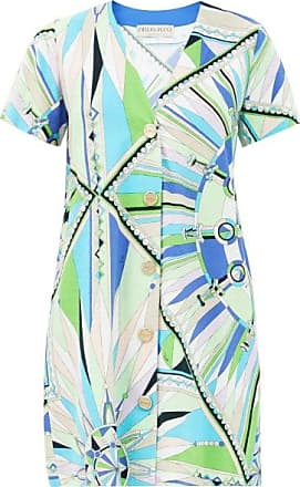 Emilio Pucci Bes-print Cotton-blend Terry Mini Dress - Womens - Green Print
