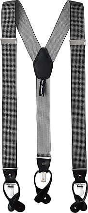Jacob Alexander Mens Houndstooth Y-Back Suspenders Braces Convertible Leather Ends Clips - Black