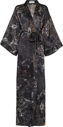 Märta Larsson Casaco longo de seda com estampa Obsidian - Preto