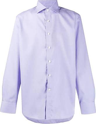 Canali Camisa com acabamento engomado - Azul
