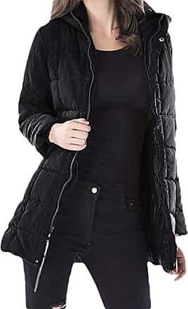 VITryst Womens Thicken Puffer Hooded Long Sleeve Zipper Pockets Short Down Overcoats Outwear Jacket,Black,X-Large
