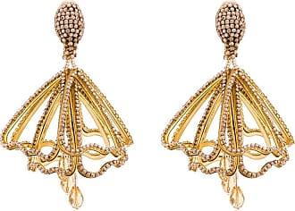 Oscar De La Renta pavé crystal-embellished petal earrings - GOLD
