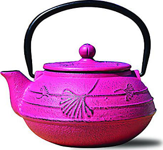 Old Dutch International 1033FS Cast Iron Ginkgo Teapot, 22 oz, Fuchsia