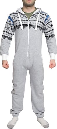 Shelikes Mens Womens Unisex One Direction Rihanna Aztec Camouflage Hooded Onesie Jumpsuit - Grey - UK 14 (XL) - (80% Cotton 20% Polyester)