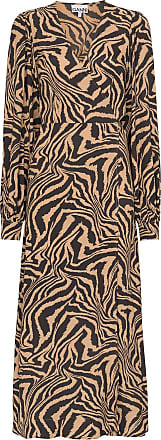 Ganni zebra print midi wrap dress - Brown