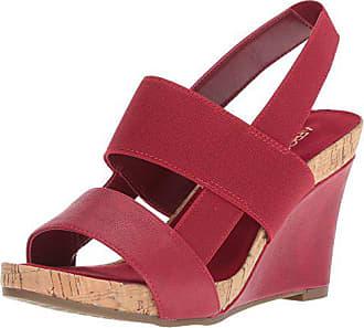 Aerosoles Womens Magnolia Plush Wedge Sandal, red, 9.5 M US
