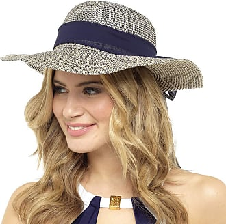 Tom Franks Straw Hat with Navy Blue Marl Scarf Trim M/L