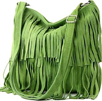 modamoda.de Ital. Leather bag Shoulderbag Shoulder bag Ladiesbag Wild leather T125, Colour:Apple green