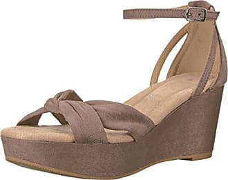Chinese Laundry Womens Devin Wedge Sandal, Dusty Taupe Suede, 9 M US