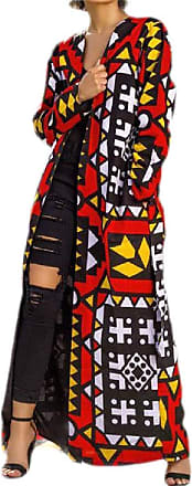 H&E Womens Casual African Print Open Front Cardigan Belt Trench Coat XL