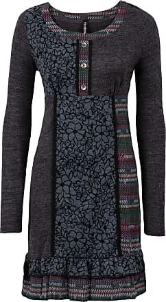 4c8afd7e6304 Bonprix Dam Stickad klänning med färgglada infällningar i grå lång ärm -  RAINBOW