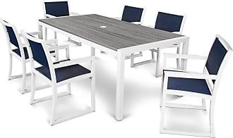 POLYWOOD Outdoor POLYWOOD Parsons Aluminum 7 Piece Rectangle Arm Chair Patio Dining Set - TXS132-1-13TIS917