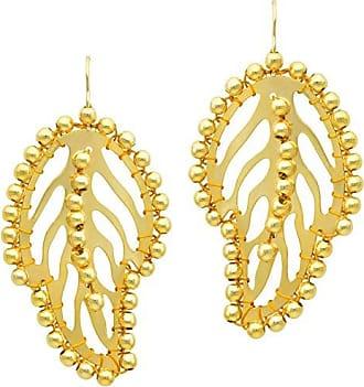 Tinna Jewelry Brinco Dourado Folha Vazada Com Bolinhas