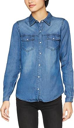 Vila Womens Vibista Shirt-noos Blouse, Blue (Dark Blue Denim Wash: Clean), 38 (Size: Medium)