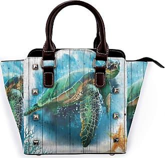 Browncin Watercolor Sea Turtle Marine Life On Rustic Wood Plank Underwater World Detachable Fashion Trend Ladies Handbag Shoulder Bag Messenger Bags
