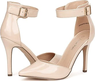 Dream Pairs Womens Pointed Toe Ankle Strap High Heel Stiletto Dress Court Shoes Oppointed-Ankle Nude Pat Size 7.5 US / 5.5 UK