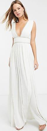 Asos Premium geplooide lange jurk met stras rand in ivoor-Wit