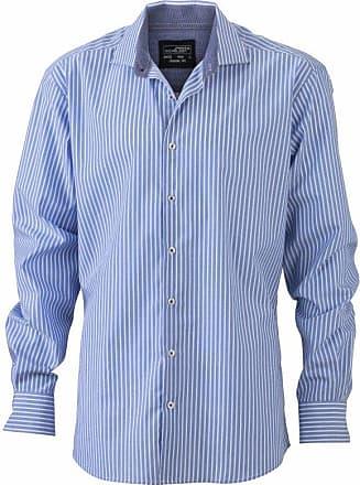 James & Nicholson Mens JN632 Stripe Shirt Light-Blue-White/Navy L