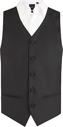 Dobell Mens Black Easy Care Waistcoat Regular Fit 5 Button-52