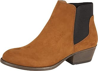 Lora Dora Womens Chunky Block Heel Chelsea Boots Aukland Brandy UK 4
