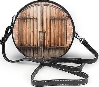 Turfed Wooden Door Of A Stone House Round Crossbody Bag Women PU Shoulder Bag Circle Purse Messenger Bag With Adjustable Straps