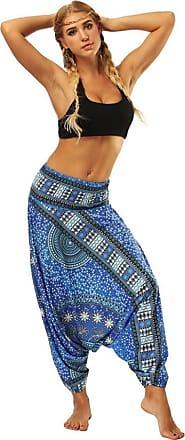 FNKDOR Fashion Style Women Casual Summer Dance Sport Charming Loose Yoga Trousers Baggy Boho Aladdin Jumpsuit Harem Pants Trousers(Light Blue,Free Size)