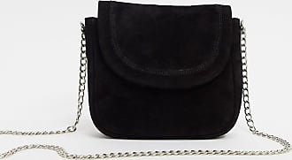 Urban Code real leather foldover saddle cross body bag-Black